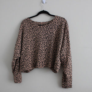 OBEY  Cheetah Print Open Back Long Sleeve